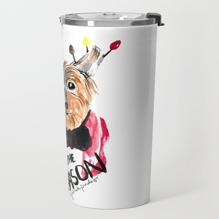 Holiday Dog, Tis the Season, Pinales Illustrated Travel Mug