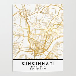 CINCINNATI OHIO CITY STREET MAP ART Poster