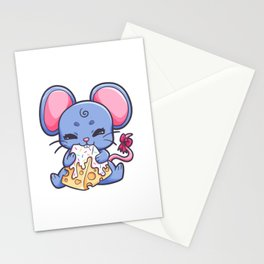 Mouse girl nibbling cheese Piece Gift Stationery Cards