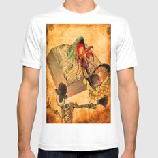 Monsieur Bone in the book of the deaths Mens Fitted Tee White MEDIUM