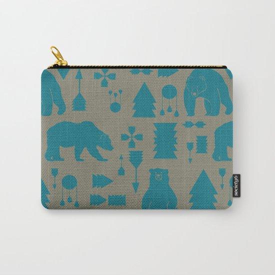 Tribal Bear Blue Carry-All Pouch