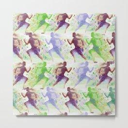 Watercolor women runner pattern Brown green blue Metal Print