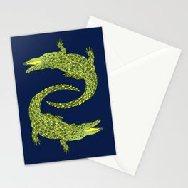 Crocodiles (Deep Navy and Green Palette) Stationery Cards