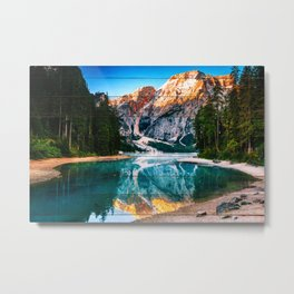 Faux Wood Misty Lake and Snow-cap Mountain Reflections Landscape Photograph Metal Print