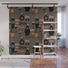 Abstract holiday gift pattern for men . Drinks . bar . Wall Mural