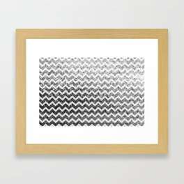 Glitter Sparkly Bling Chevron Pattern (silver) Framed Art Print