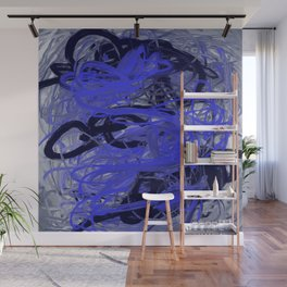 Blue & Gray Abstract Wall Mural