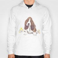 the hound Hoodies featuring Basset Hound by jo clark