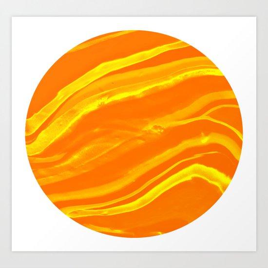 Marbling Lava Orange and Yellow World Marble Art Print