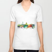 washington dc V-neck T-shirts featuring Washington, DC Skyline SP by Marlene Watson