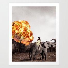 Escape on an Elephant Art Print