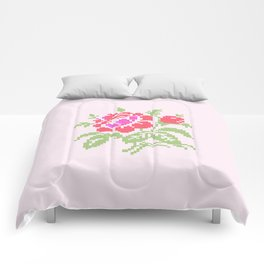 Embroidered red rose Comforters