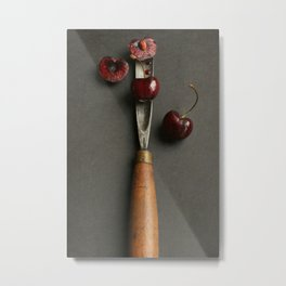 Cherries and Vintage Chisel Metal Print