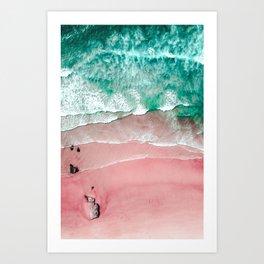 Beach in Portugal, Algarve, Lagos, Beach Print, Pink Beach Print, Bondi Beach, Pink Print, Ocean Art Print