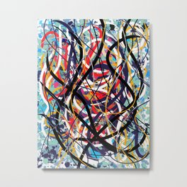 Abstract expressionist art in red blue and black Metal Print