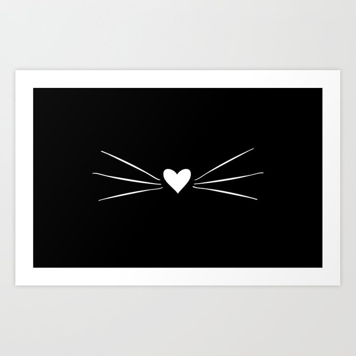 Cat Heart Nose & Whiskers White on Black Kunstdrucke