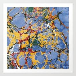 Marble Blue / Yellow Art Print