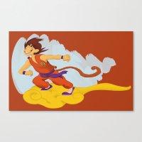 dragonball Canvas Prints featuring DragonBall: Goku and Nimbus by Michelle Rakar