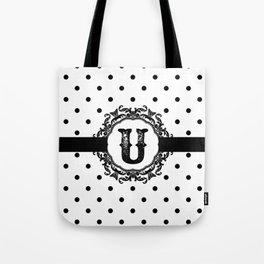 Black Monogram: Letter U Tote Bag