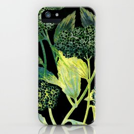 Dark floral with golden accent iPhone Case