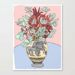 Greek Urn with Horses and Protea Bouquet Canvas Print