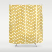 chevron Shower Curtains featuring Yellow Chevron by Zeke Tucker