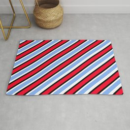 TEAM COLORS 1…Red white Light blue diagonal stripe Rug