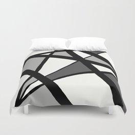 Geometric Line Abstract - Black Gray White Duvet Cover