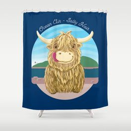 Scottish Highland Cow With Ocean Salty Hair Shower Curtain