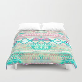 Pink Teal Aztec Pattern Triangles Girly Watercolor Duvet Cover