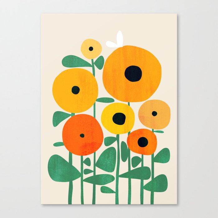 Sunflower and Bee Leinwanddruck