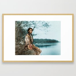 Ponemah by the Lake - Ojibwe Woman - American Indian Framed Art Print