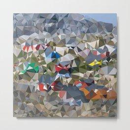 Greenland Village Low Poly Geometric Triangles Mathematical Art Metal Print