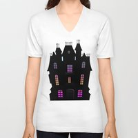 haunted mansion V-neck T-shirts featuring Haunted Silhouette Rainbow Mansion by rainbowdreams