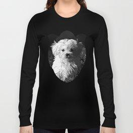 maltese dog vector art black white Long Sleeve T-shirt
