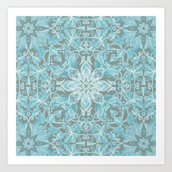 Soft Teal Blue & Grey hand drawn floral pattern Art Print