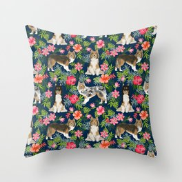 Sheltie shetland sheepdog hawaii floral hibiscus flowers pattern dog breed pet friendly Throw Pillow