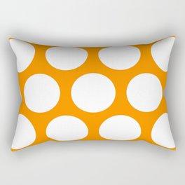 Large Polka Dots: Orange Rectangular Pillow
