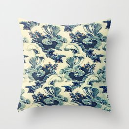 Floral Scroll Vintage Leaf Pattern Throw Pillow