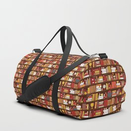 Book Case Pattern - Red and Gold Duffle Bag