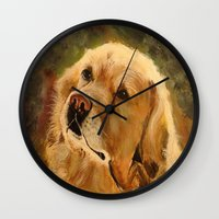 golden retriever Wall Clocks featuring Golden Retriever by Tidwell