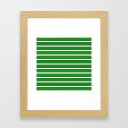 Horizontal Lines (White/Forest Green) Framed Art Print
