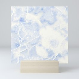 Blue and White Marble Waves Mini Art Print