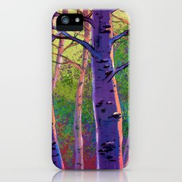 Poplars in winter at the sunset iPhone Case