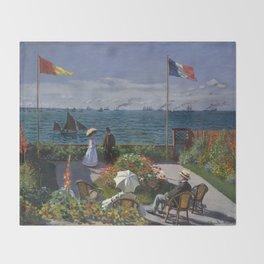 Garden at Sainte-Adresse by Claude Monet Throw Blanket