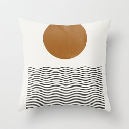 Abstract Landscape, Gold Sun Throw Pillow