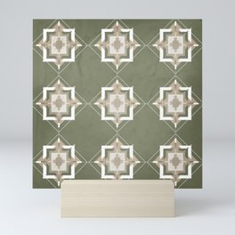 Sage Green and Taupe Mosaic Pattern Mini Art Print