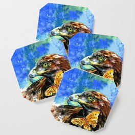 Golden Eagle And Butterfly by Kathy Morton Stanion Coaster