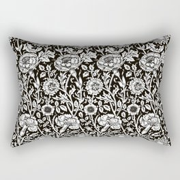 """William Morris Floral Pattern   """"Pink and Rose"""" in Black and White   Vintage Flower Patterns   Rectangular Pillow"""