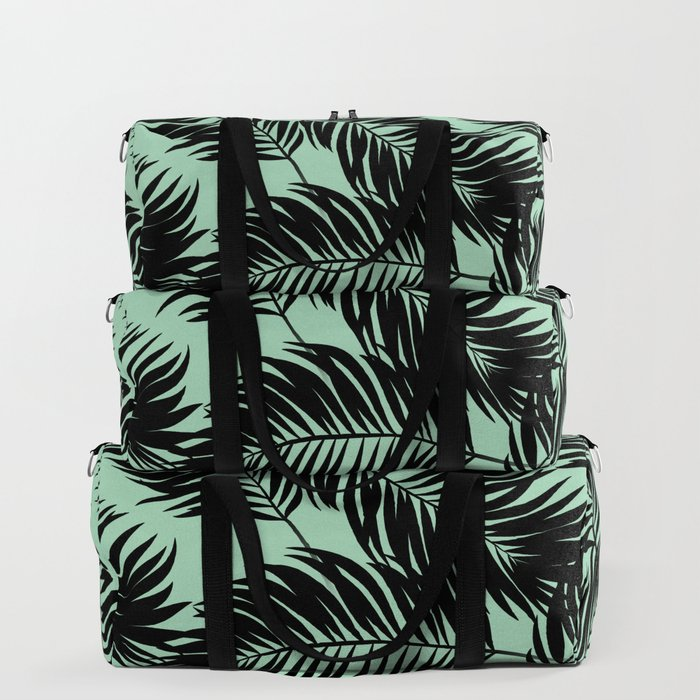 dce10d22b20b Palm Frond Tropical Décor Leaf Pattern Black on Mint Green Duffle Bag by  sharonmau